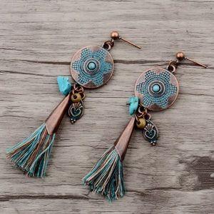Copper Drop Ethnic Stone Tassel Earrings